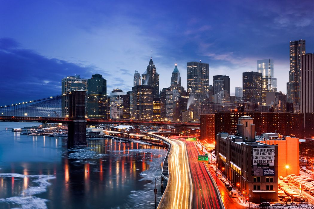 Houses Roads USA Night Motion New York City Cities wallpaper
