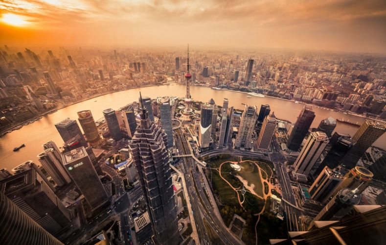 Houses Skyscrapers China Shanghai From above Megapolis Cities wallpaper
