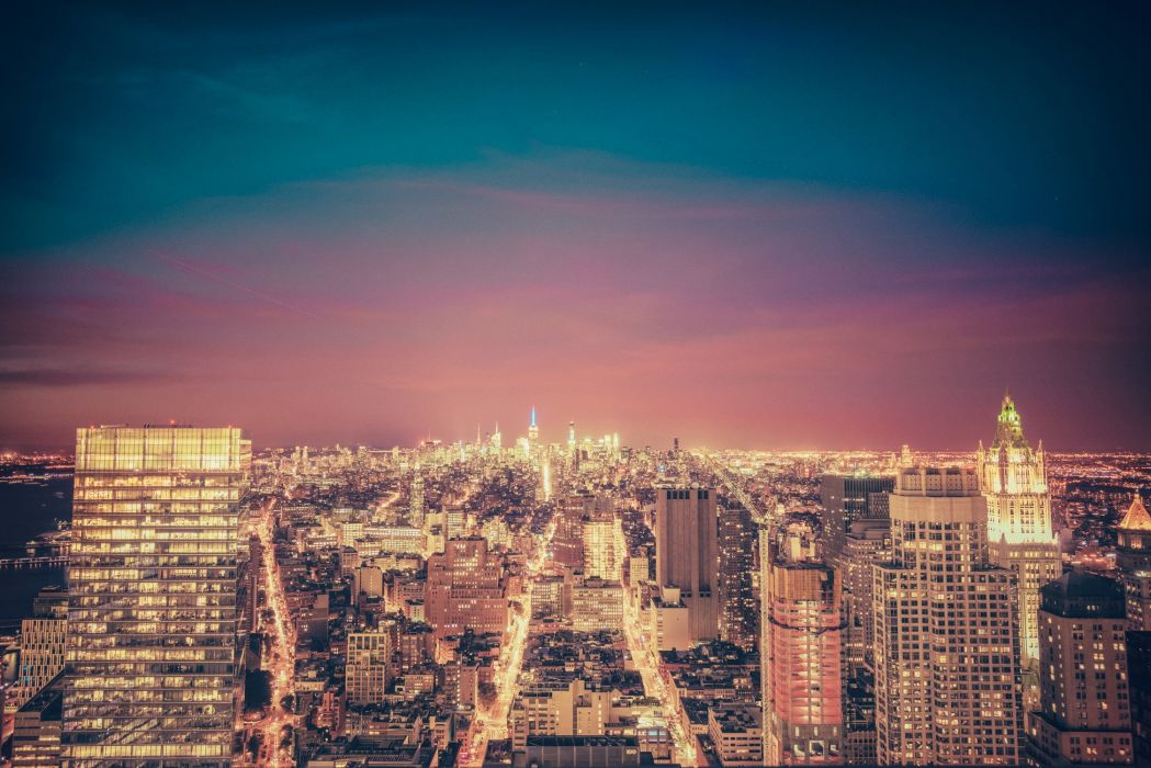 Houses USA Night New York City Empire State Building Cities wallpaper