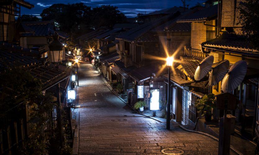 Japan Houses Street Night Street lights Kyoto Cities wallpaper
