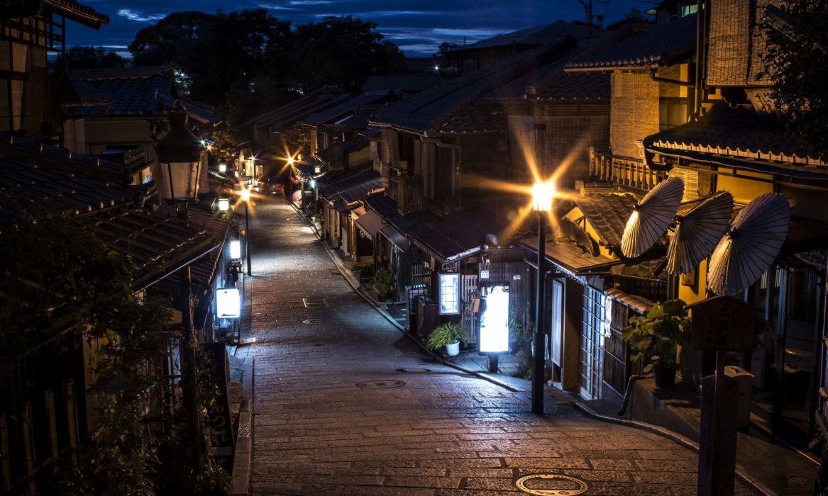 Japan Houses Street Night Street lights Kyoto Cities wallpaper