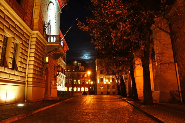 Latvia Houses Street Night Street lights Riga Cities wallpaper