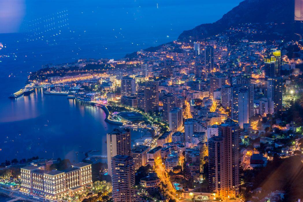 Monaco Houses Marinas Night Monte Carlo Cities wallpaper