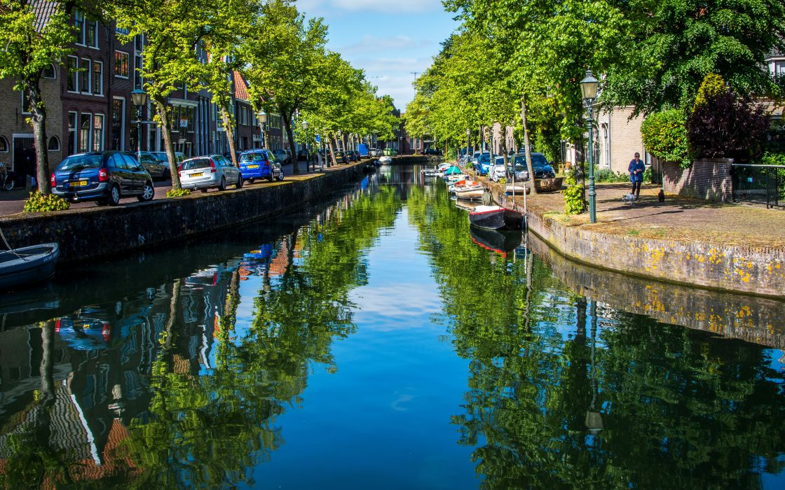 Netherlands Canal Street Trees Street lights Hoorn Cities wallpaper