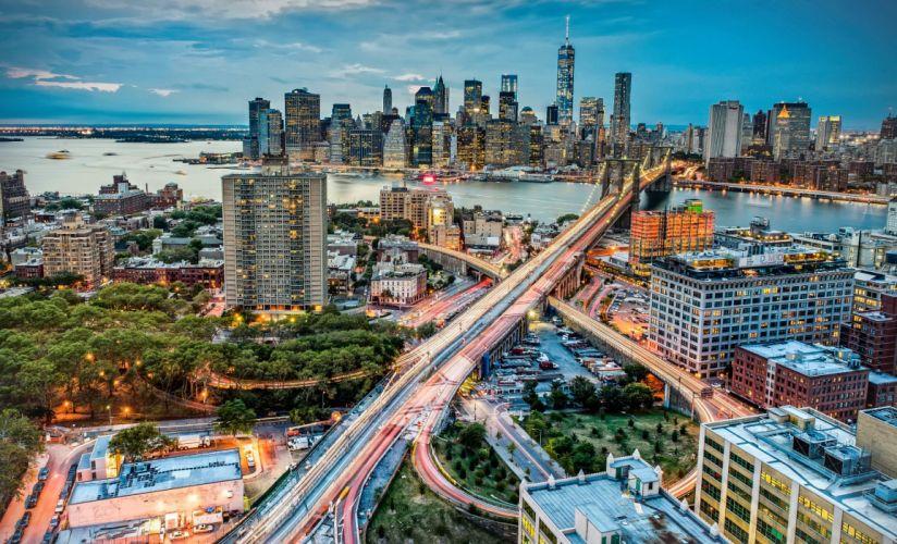 Roads Bridges Houses Evening USA From above New York City Manhattan Cities wallpaper