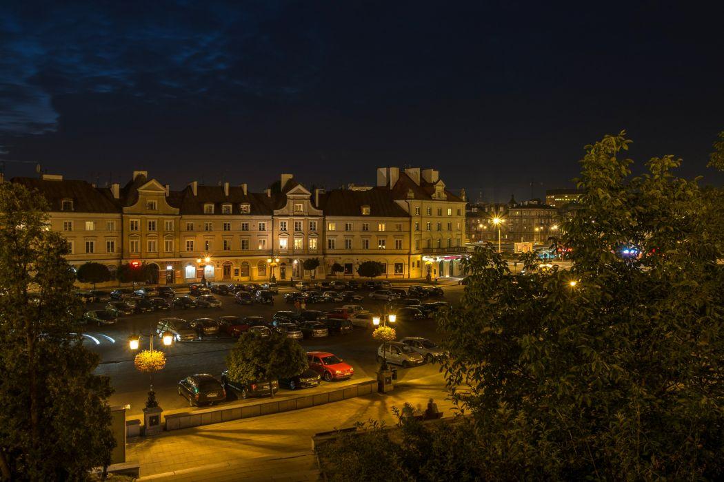 Poland Houses Night Street lights Lublin Cities wallpaper
