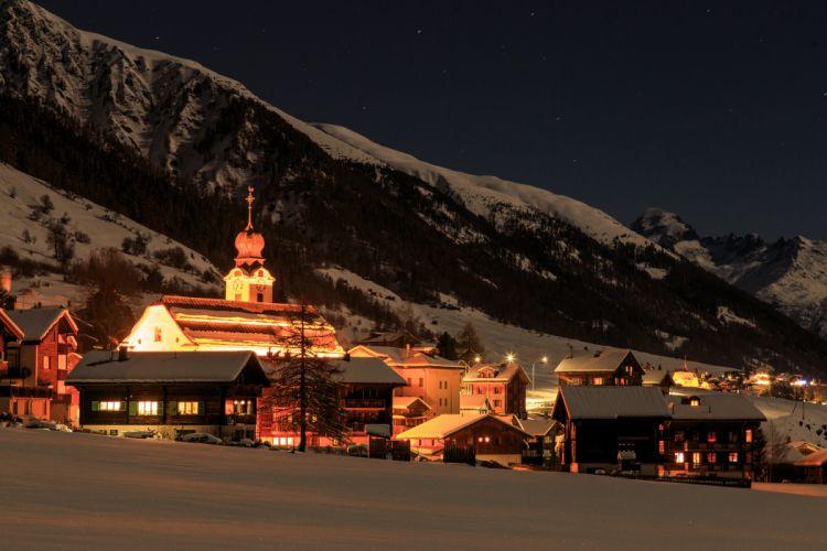 Switzerland Houses Winter Mountains Night Street lights Snow Reckingen Goms Cities wallpaper
