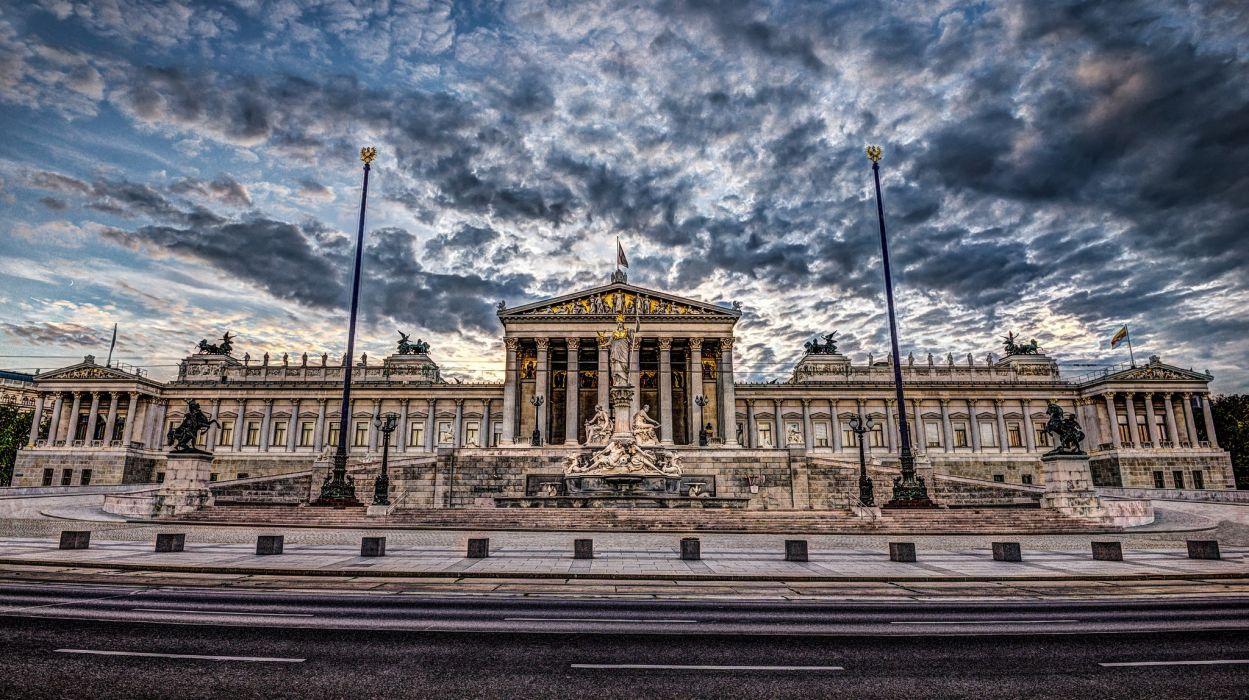 Austria Clouds Street HDR Parliament Vienna Cities wallpaper