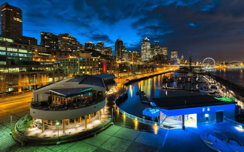 USA Houses Rivers Marinas Night Street lights Seattle Cities wallpaper