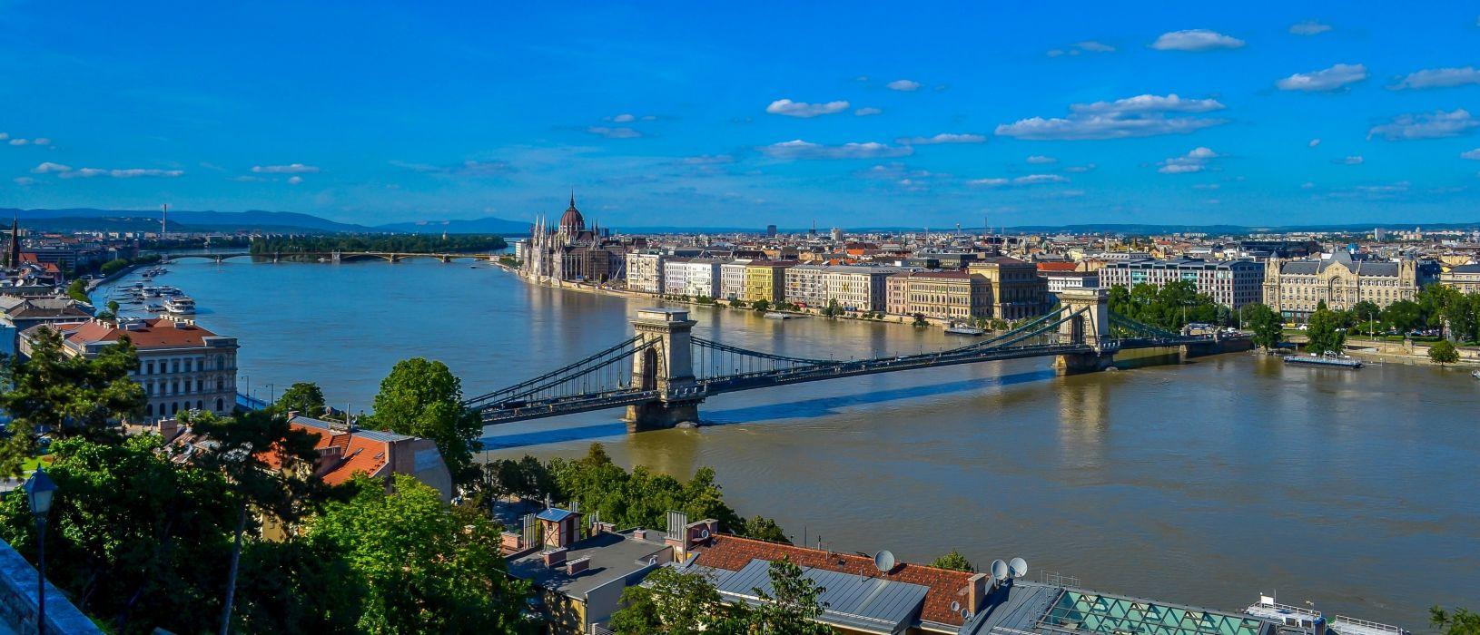Bridges Rivers Hungary Budapest Danube River Chain Bridge Cities wallpaper