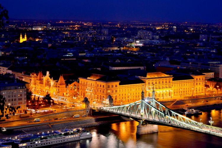 Budapest Hungary Houses Rivers Bridges Street Night Street lights Cities wallpaper