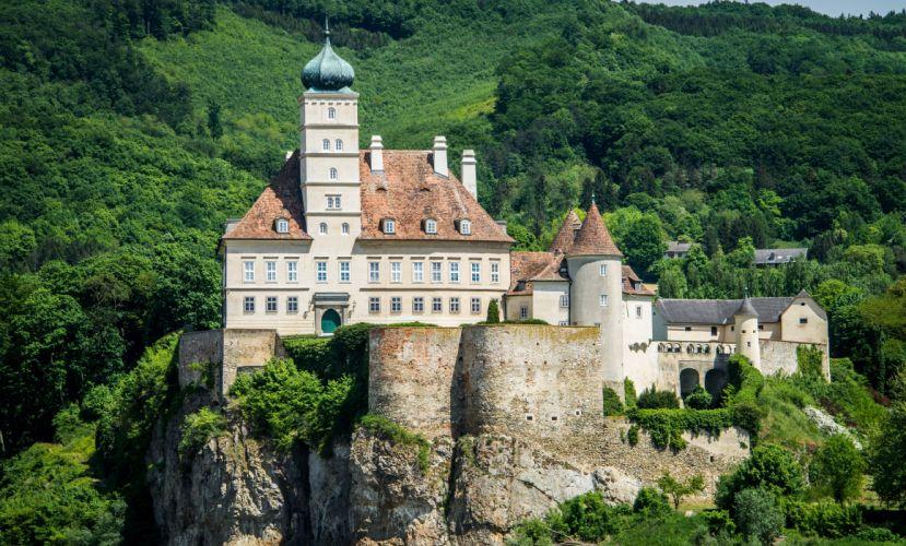 Austria Castles Forests Crag Schonbuhel Castle Cities wallpaper