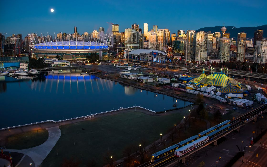 Canada Houses Marinas Trains Vancouver Night Cities wallpaper