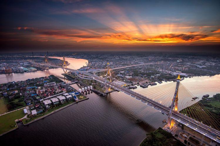 Evening Bridges Rivers Bangkok From above Chao Phraya River Cities wallpaper