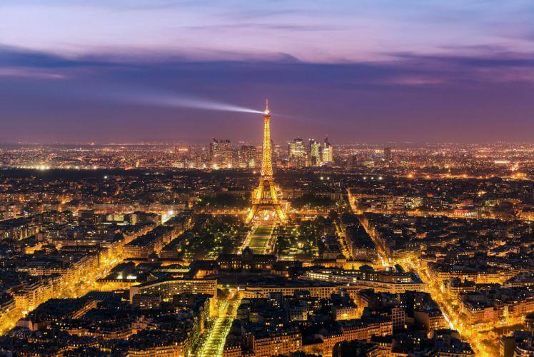 France Evening Paris Eiffel Tower From above Cities wallpaper