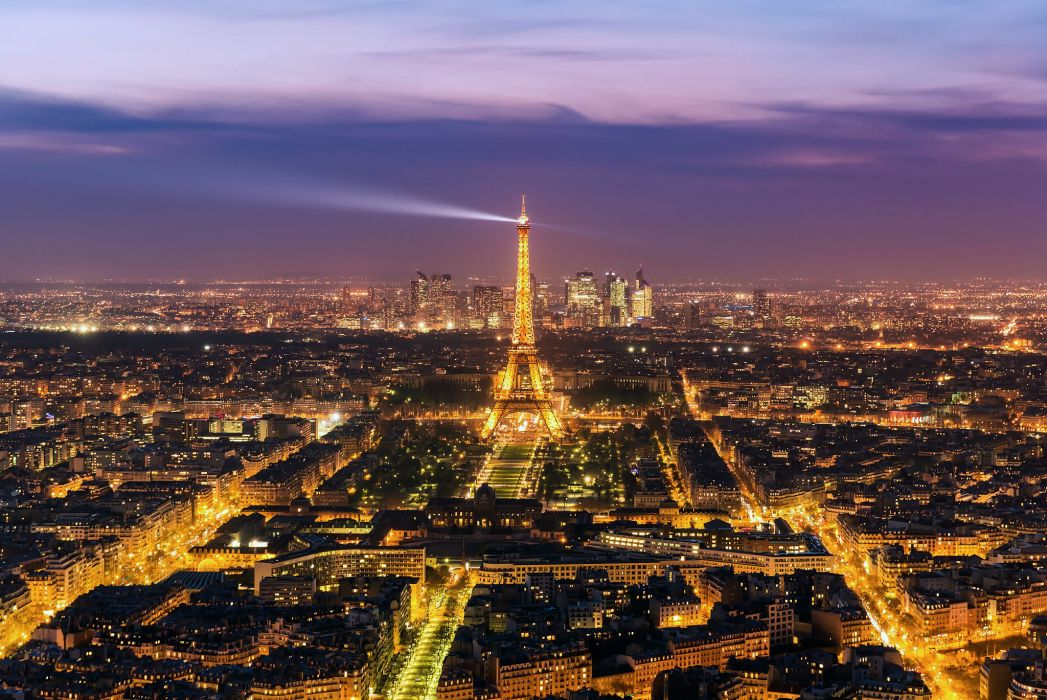 France Evening Paris Eiffel Tower From above Cities wallpaper