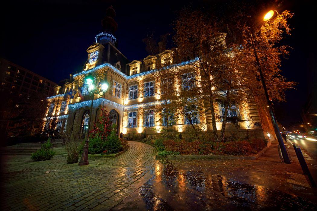 France Houses Paris Night Street lights Trees Cities wallpaper