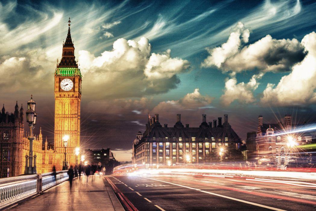 England Roads London Clouds Street Motion Big Ben Street lights Cities wallpaper