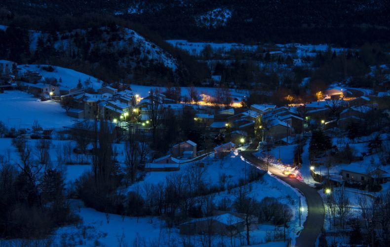 France Houses Winter Snow Street lights Night Soleilhas Cities wallpaper