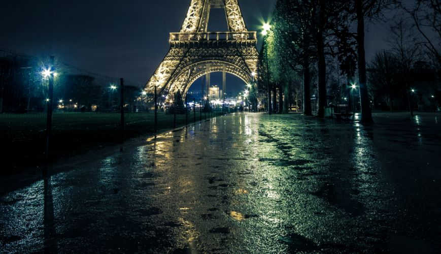 France Paris Street Eiffel Tower Night Street lights Trees Cities wallpaper