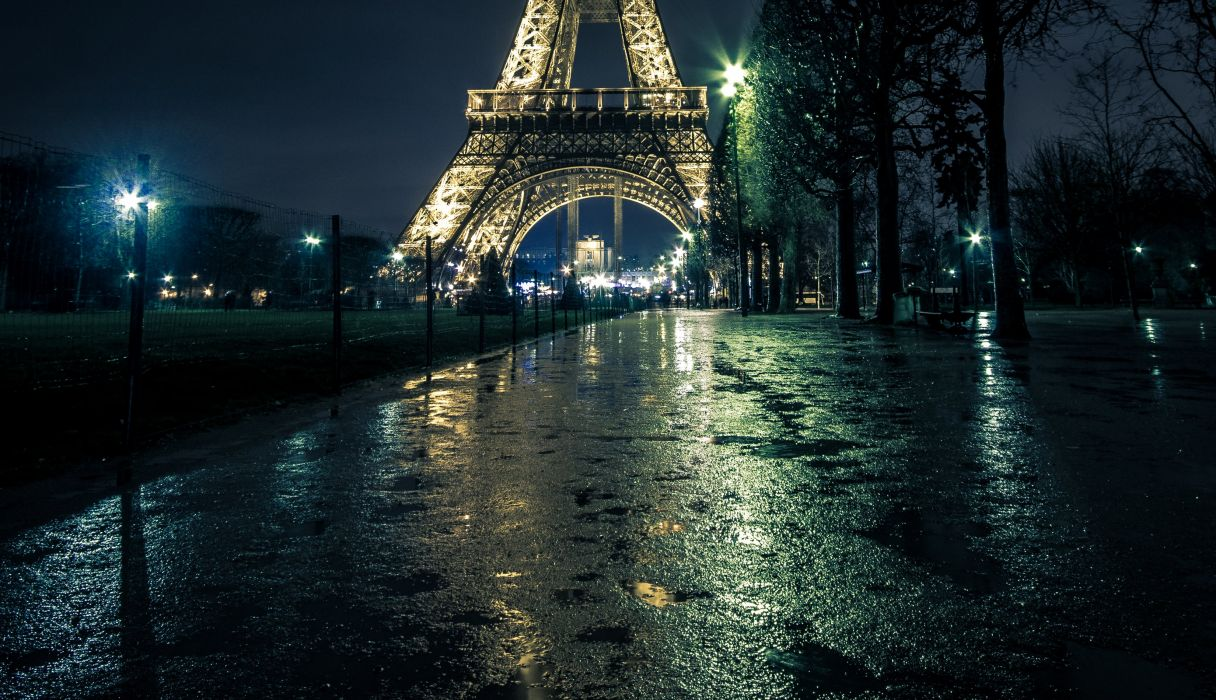 France Paris Street Eiffel Tower Night Street lights Trees Cities wallpaper