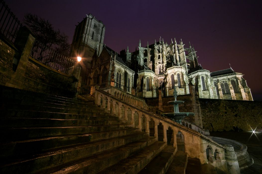 France Temples Night Stairs Cathedral Le Mans Cities wallpaper