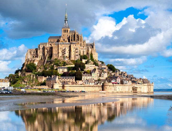 France Island Houses Fortress Sky Clouds Mont Saint Michel Cities wallpaper
