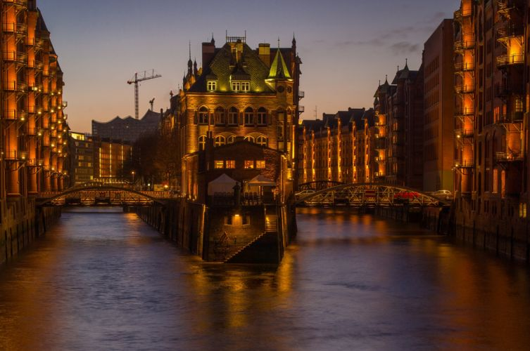 Germany Houses Bridges Hamburg Canal Night Cities wallpaper