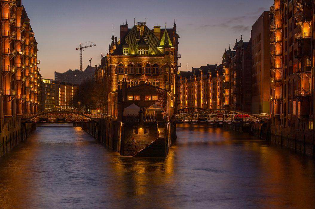 Germany Houses Bridges Hamburg Canal Night Cities wallpaper