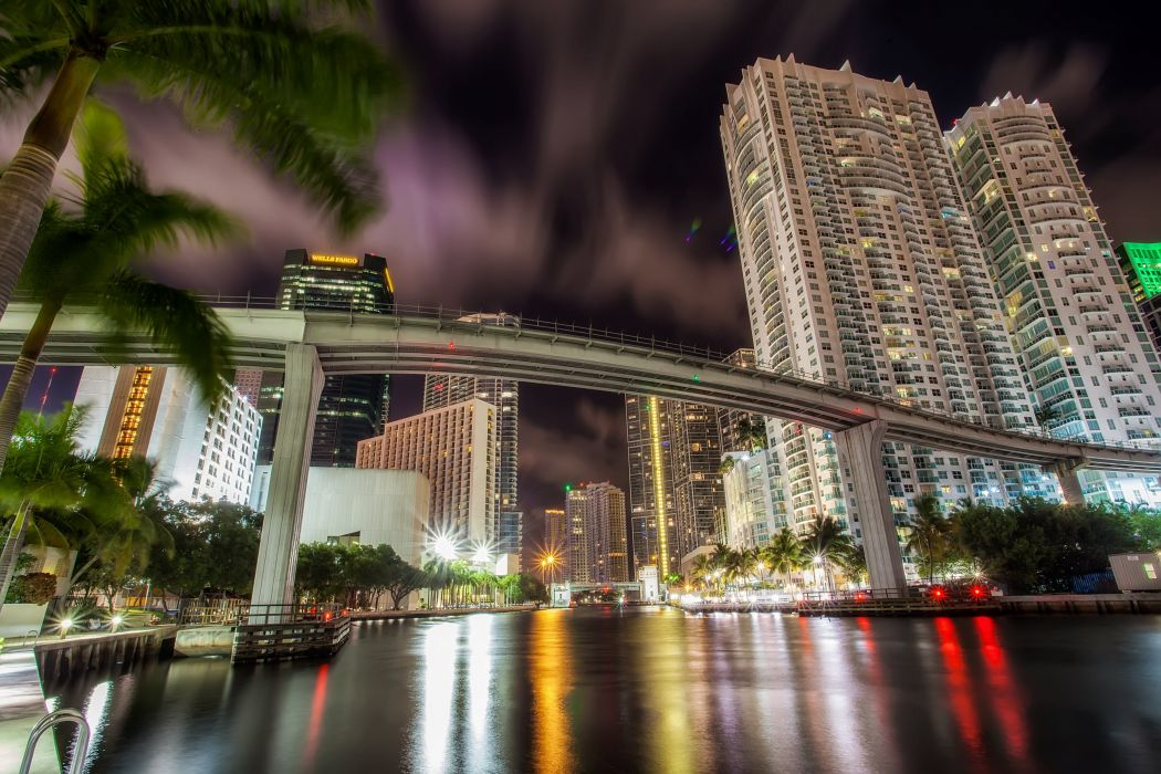 Houses Bridges USA Night Canal miami Cities wallpaper