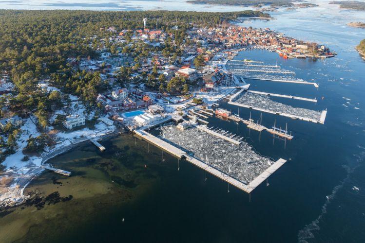 Sweden Houses Marinas Winter From above Sandhamn Cities wallpaper