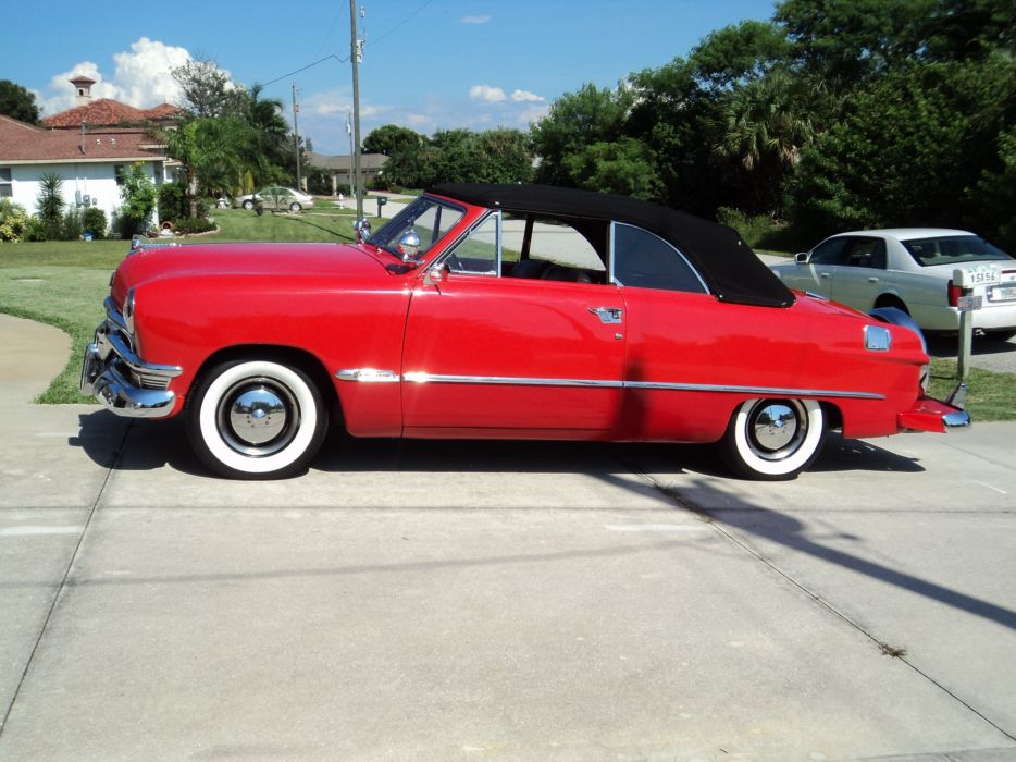 1950 Ford Custonline Deluxe Convertible Red Classic Old Vintage Original USA 2592x1944-05 wallpaper