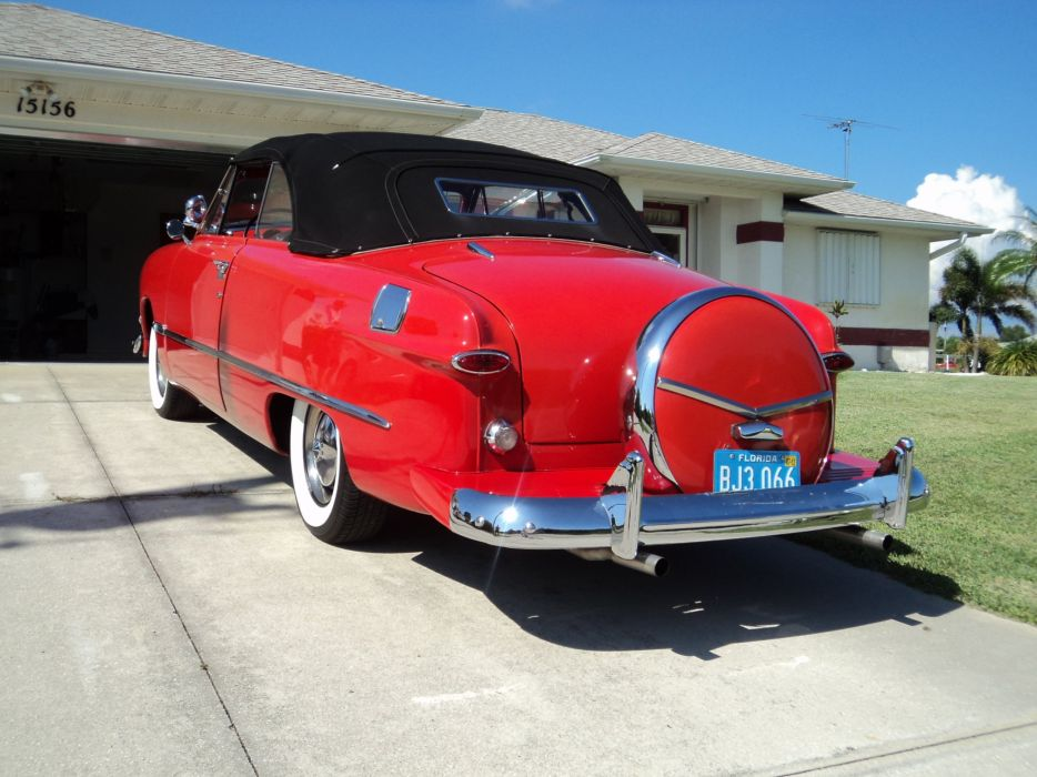 1950 Ford Custonline Deluxe Convertible Red Classic Old Vintage Original USA 2592x1944-07 wallpaper