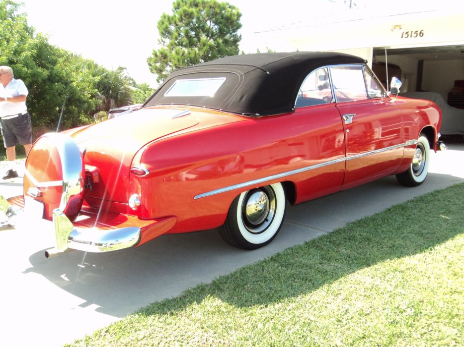 1950 Ford Custonline Deluxe Convertible Red Classic Old Vintage Original USA 2592x1944-09 wallpaper