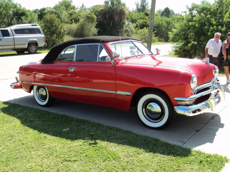 1950 Ford Custonline Deluxe Convertible Red Classic Old Vintage Original USA 2592x1944-10 wallpaper