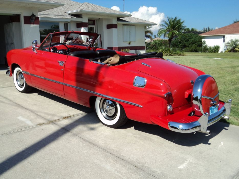 1950 Ford Custonline Deluxe Convertible Red Classic Old Vintage Original USA 2592x1944-12 wallpaper