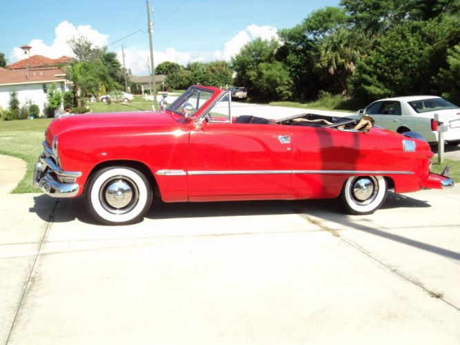1950 Ford Custonline Deluxe Convertible Red Classic Old Vintage Original USA 2592x1944-14 wallpaper