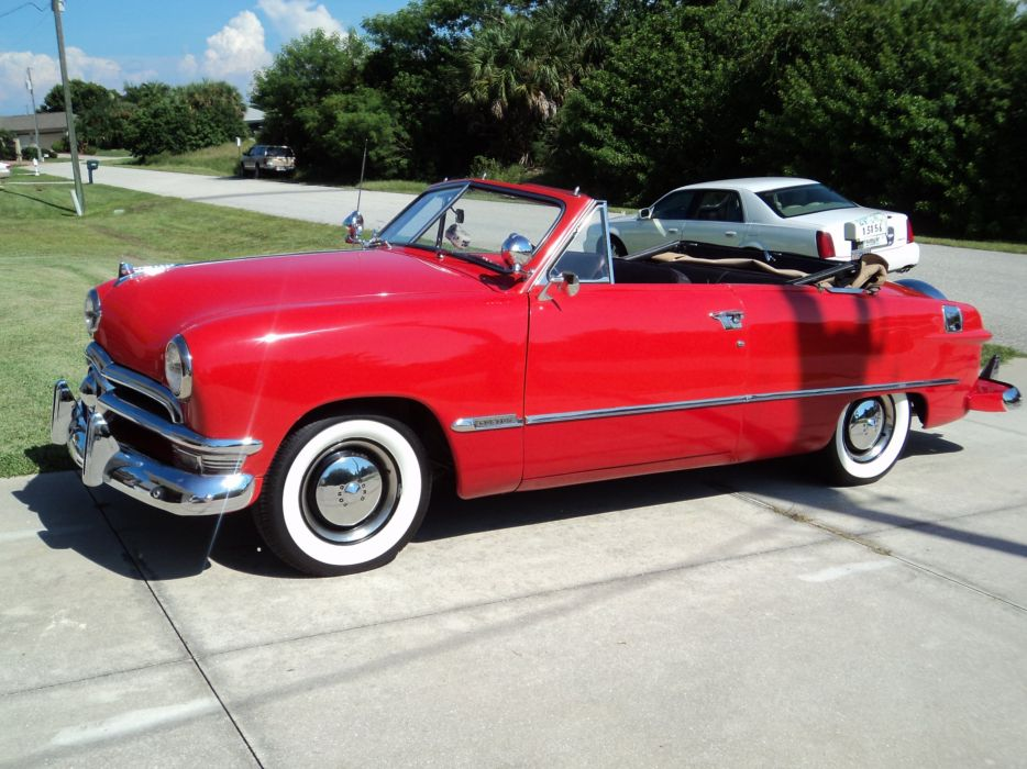 1950 Ford Custonline Deluxe Convertible Red Classic Old Vintage Original USA 2592x1944-13 wallpaper