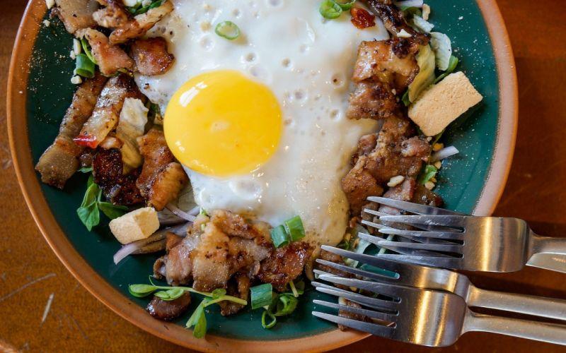 huevo frito carne tenedores comidas wallpaper