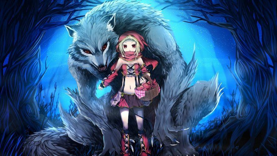 fantasy anime little red riding hood red eyes werewolf girls wallpaper