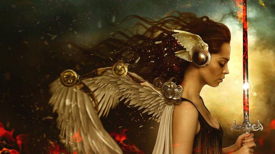 woman fantasy beautiful angel wings long hair wallpaper