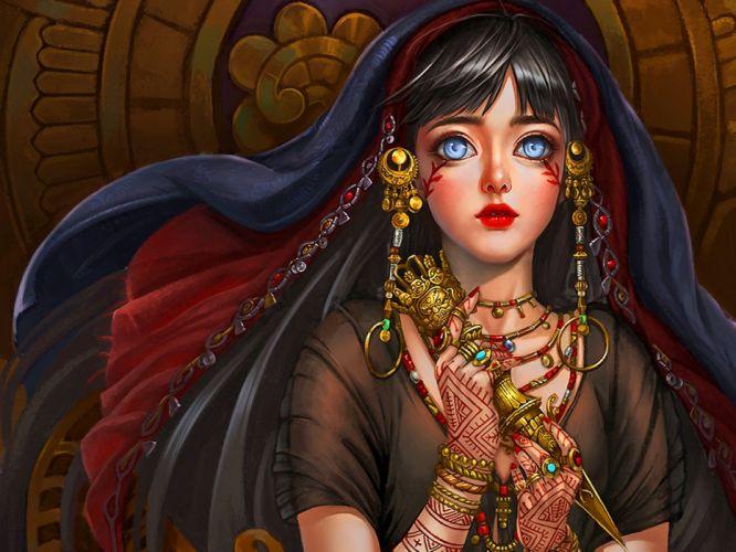 anime fantasy girl blue eyes long hair beautiful wallpaper