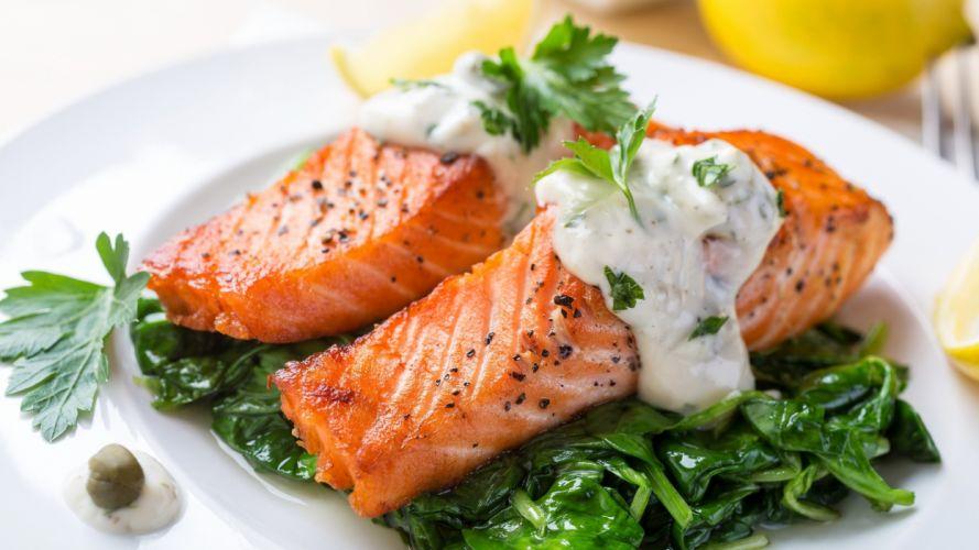 salmon verduras salsas comidas wallpaper
