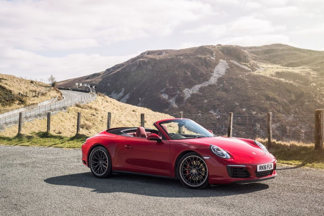 Porsche 911 Carrera 4S Cabriolet UK-spec (991) cars red 2016 wallpaper