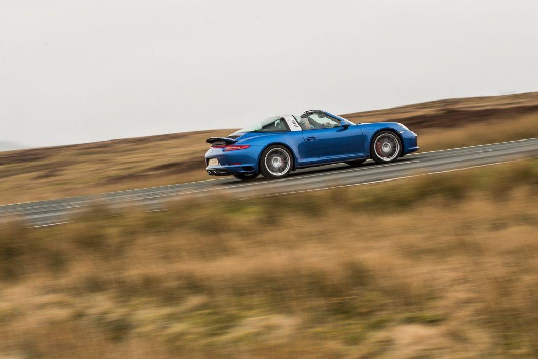 Porsche 911 targa 4S UK-spec (991) cars blue 2016 wallpaper