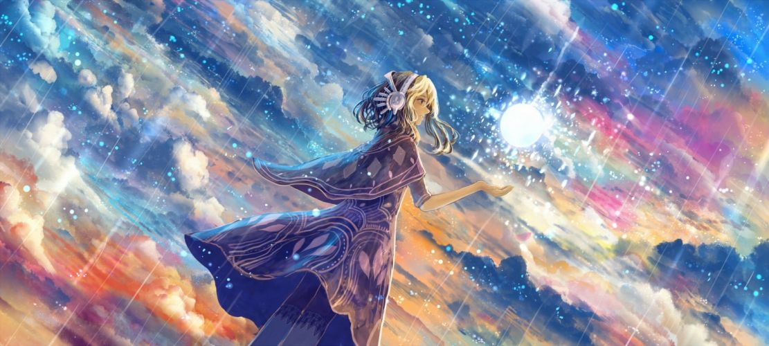 anime sky stars dress girl beauty rain clouds wallpaper