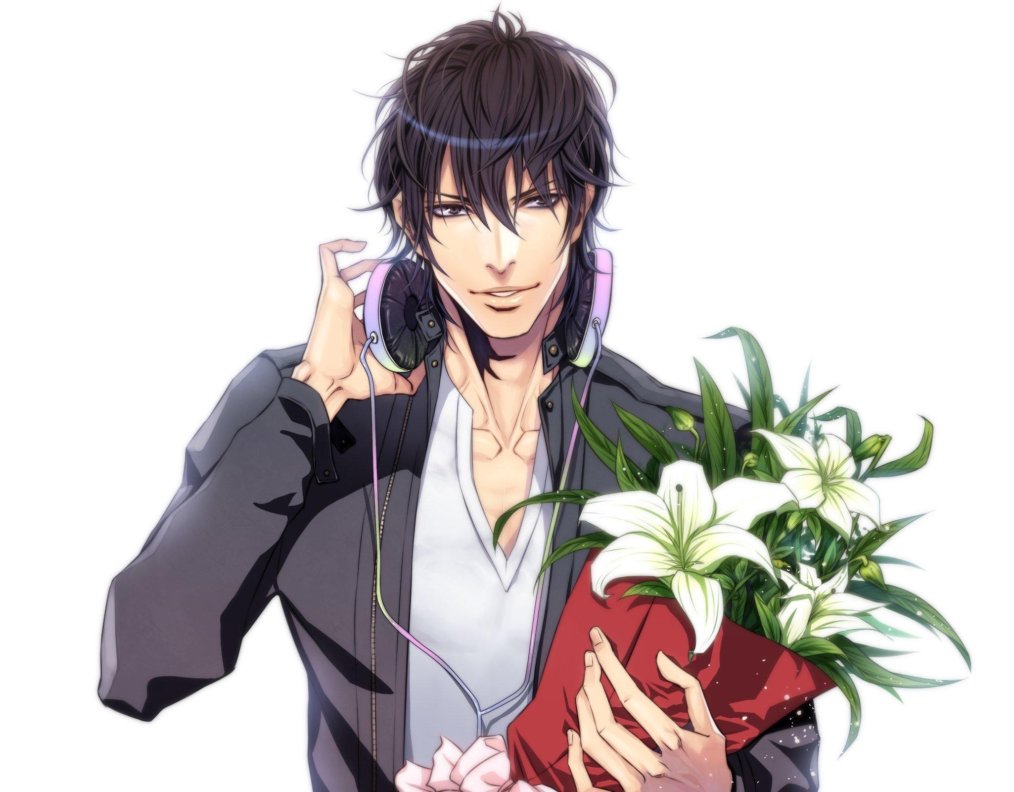 Anime boy male flower smile headphone wallpaper ...