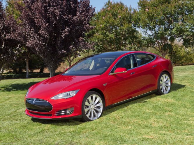 2013 Tesla Model-S P85 cars red electric wallpaper