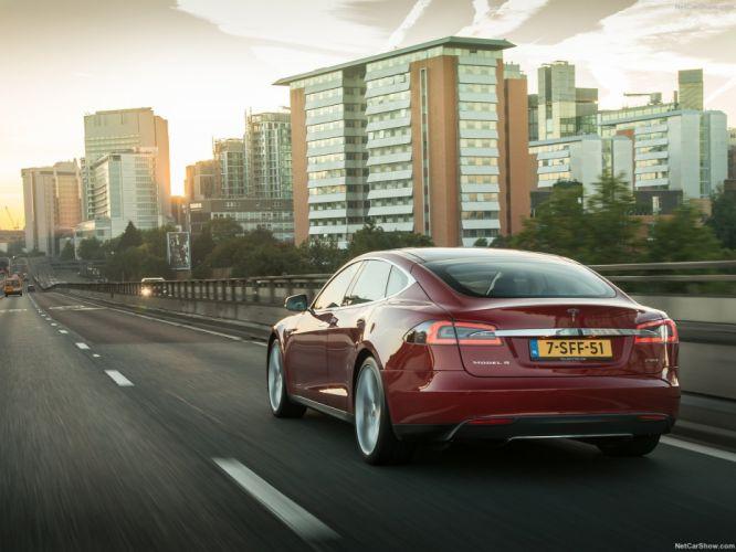 2013 Tesla Model-S P85 cars red electric wallpaper