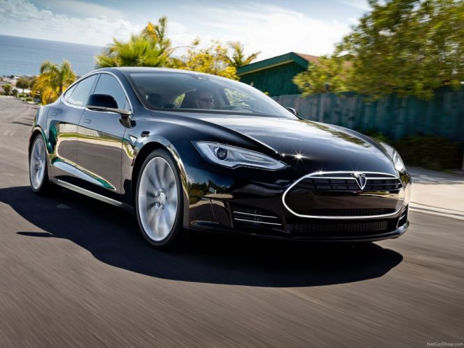 2013 Tesla Model-S P85 cars black electric wallpaper